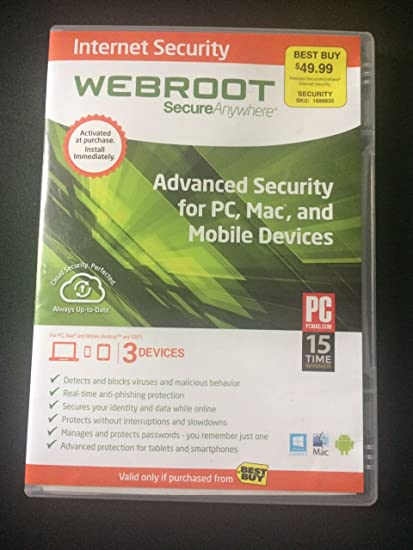 Webroot internet security antivirus 2018 (3-devices) (2-year.