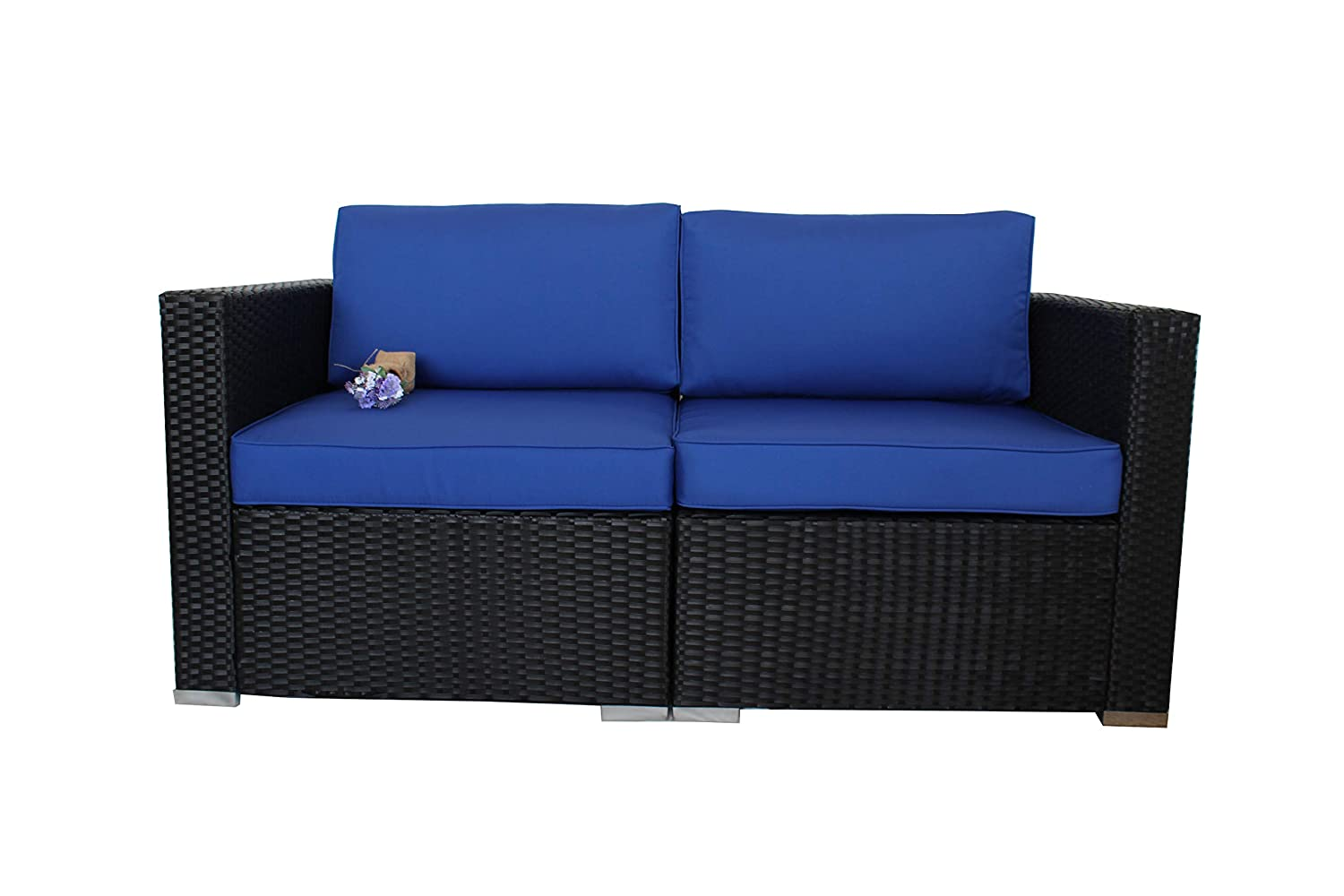 Outdoor Black Rattan Wicker Sofa Set Garden Patio Furniture Cushioned Sectional Loveseat Royal Blue Cushions,2 Piece