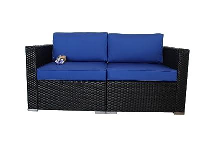 Outdoor Black Rattan Wicker Sofa Set Garden Patio Furniture Cushioned  Sectional Loveseat(Royal Blue Cushions,2 Piece)