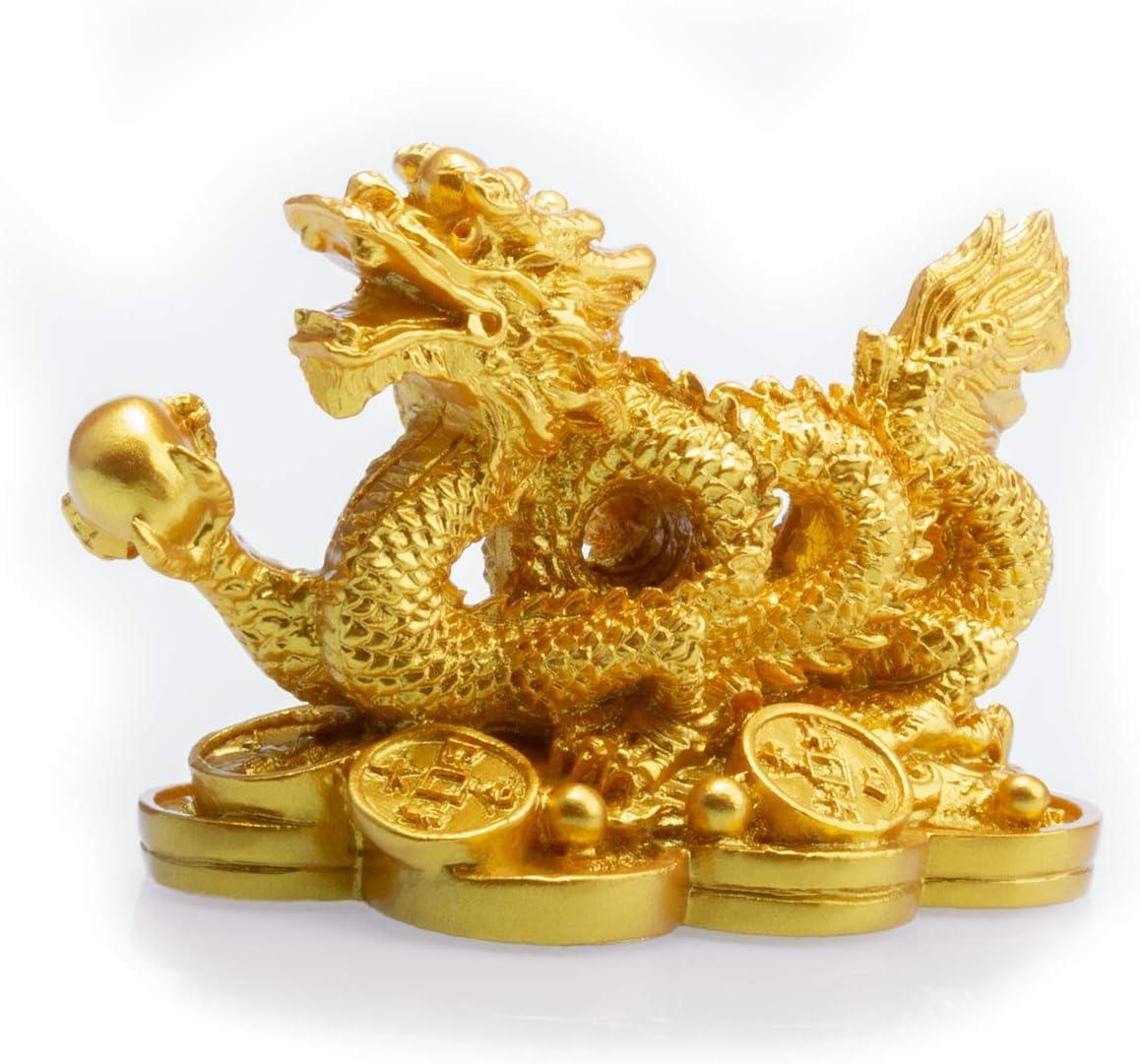 Feng Shui - Figura decorativa de dragón de resina sobre monedas antiguas, resina, dorado