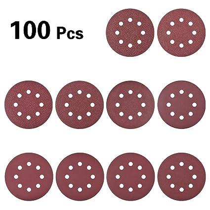 Selizo 100 Pcs 5 Inch 8 Holes Sanding Discs 40//60//80//100//120//180//240//320//400//800 Grit Hoop and Loop Sandpaper for Random Orbital Sander