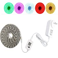 5M Smart Wifi LED Flexible Strip Light Kit For Alexa Google Home IFTTT,Voice Control 300 Units 5050 RGB Dimmable Multicolour Neon String Tape IP65 Waterproof,Controller And 12V Wall Plug Power Included