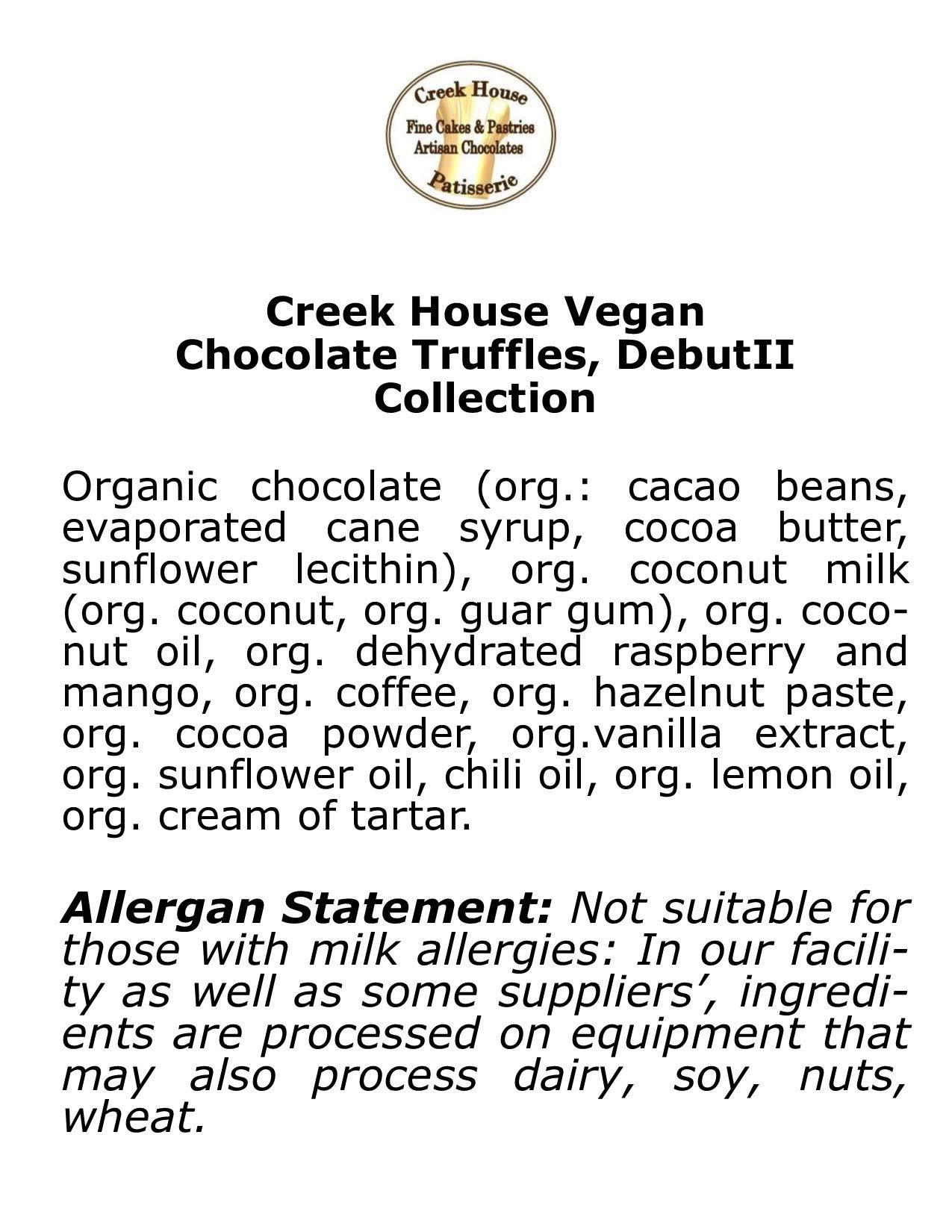 Creek House 12 Piece Organic Vegan Chocolate Truffles, DebutII