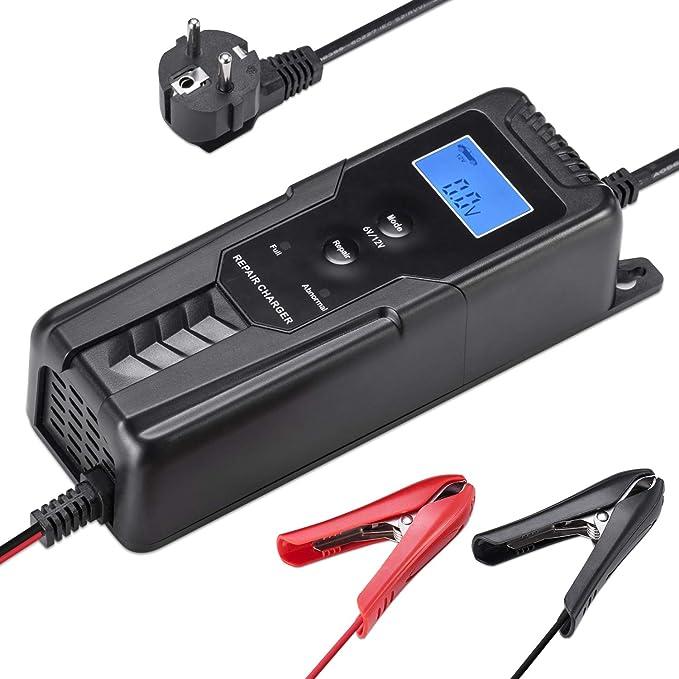 LOHOTEK 6V/12V Cargador/Mantenedor de Batería con Cargador de Cepo de Cable para Batería de Ácido de Plomo Sellado Cortadoras de Césped de Barco de Coche: ...