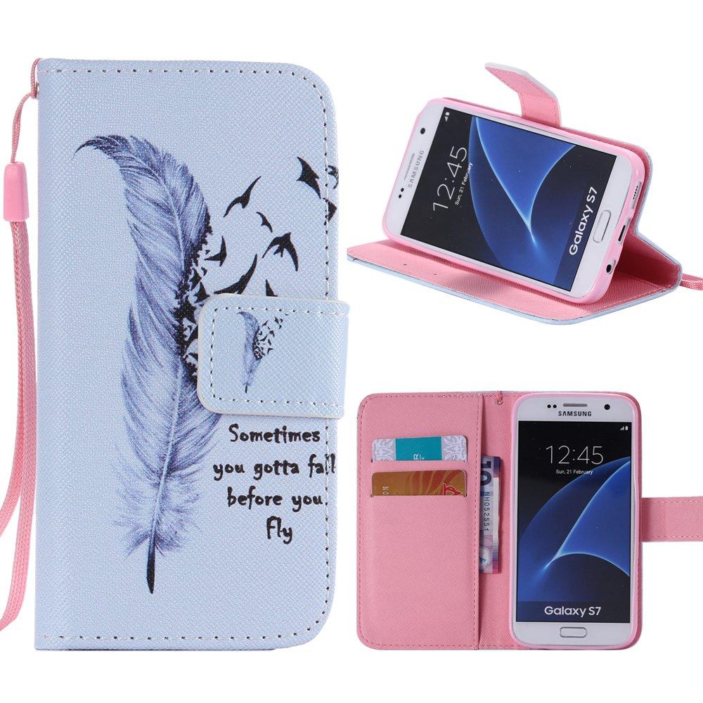 Dooki S7 Coque, Galaxy S7 Coque, Supporter Portemonnaie Flip PU Cuir Housse Coque É tui Etui pour Samsung Galaxy S7 Avec Cré dit Carte Tenant Fente et Main Dragonne (A-2)