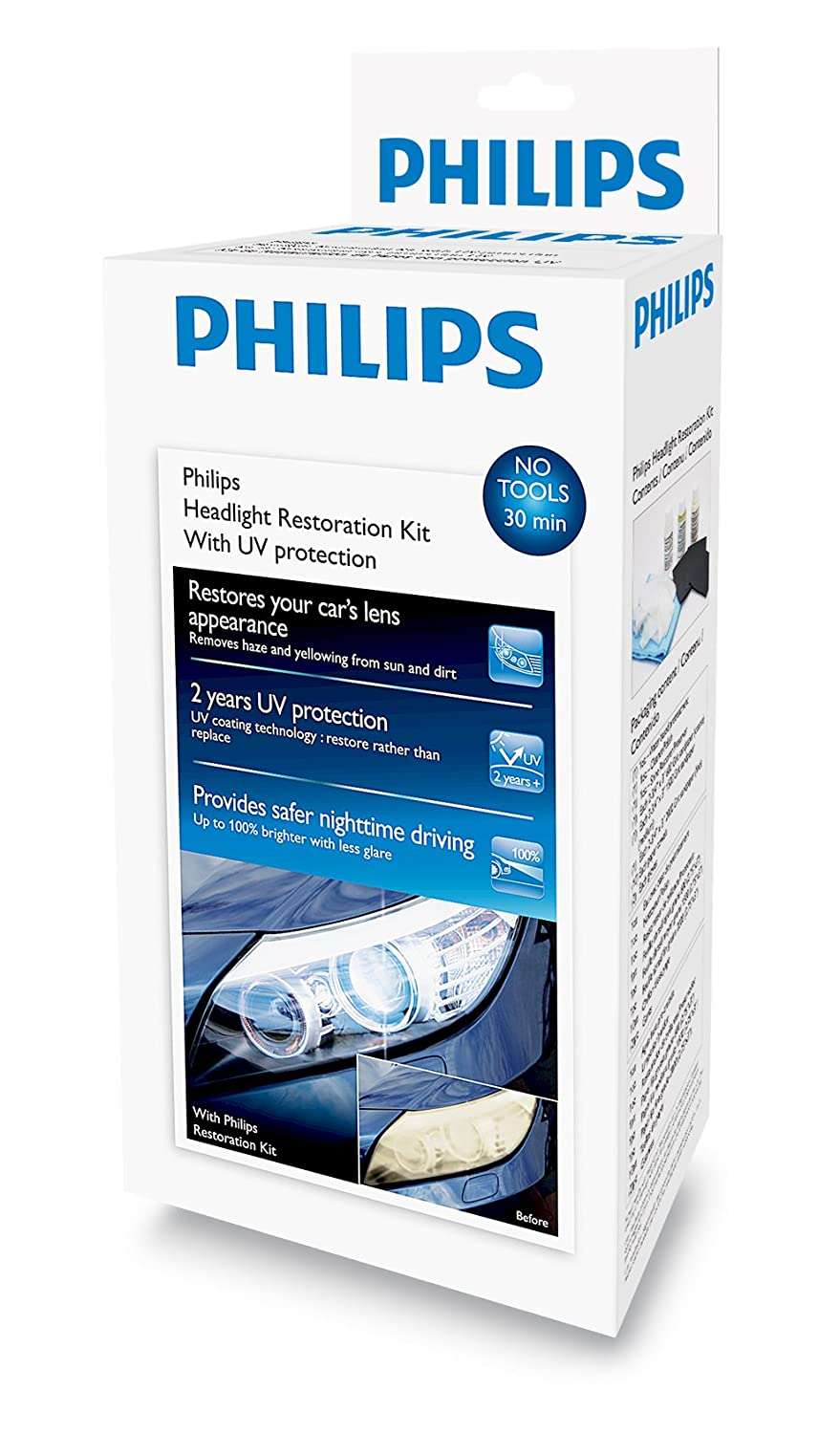 Philips Headlight Restoration Kit with UV protection - Complete Kit to restore headlight lenses HRK00XM