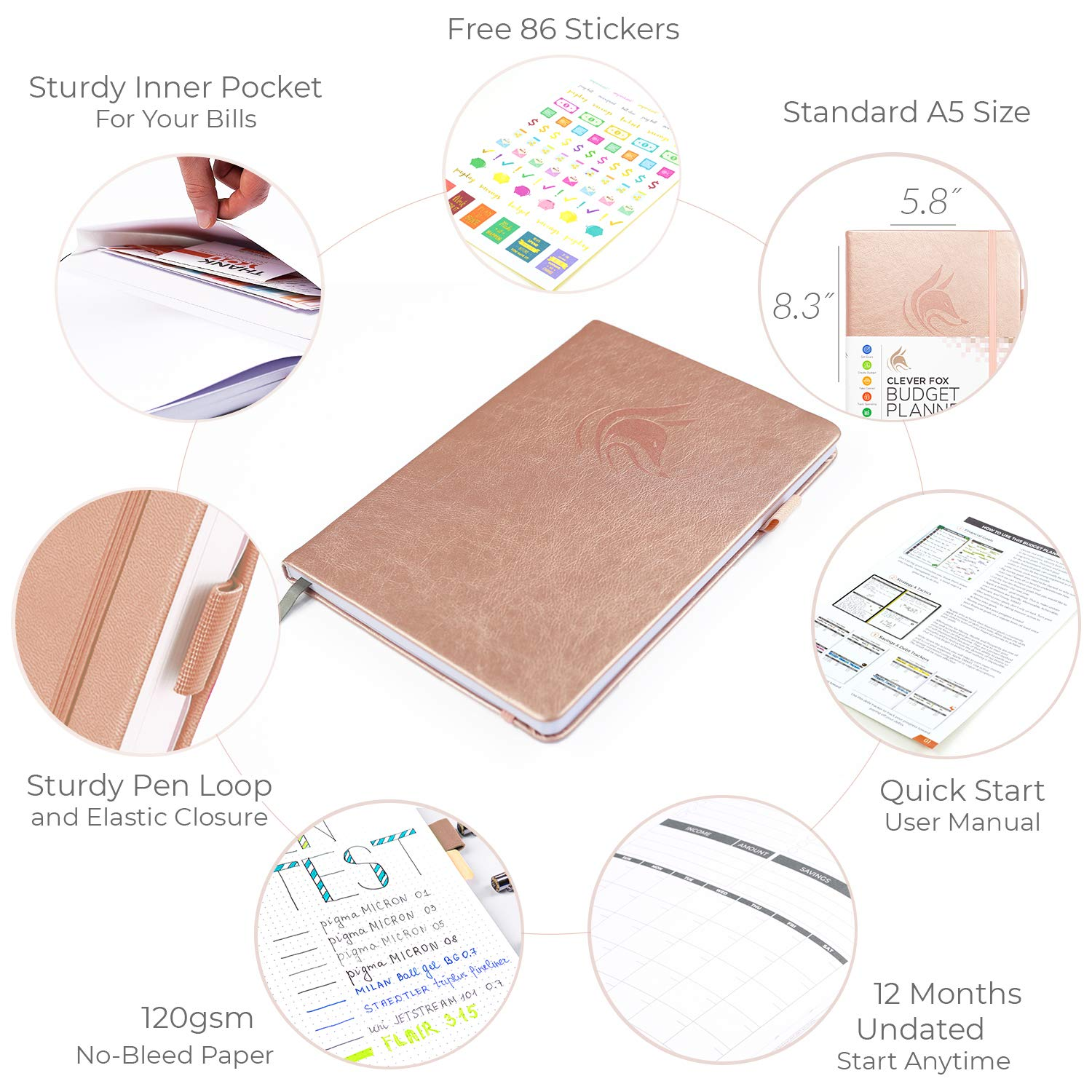 Undated 14.25 X 21 cm Start Anytime Finance Planner /& Accounts Book to Take Control of Your Money Clever Fox Budget Planner Viola, A5 Monthly Budgeting Journal Expense Tracker Notebook