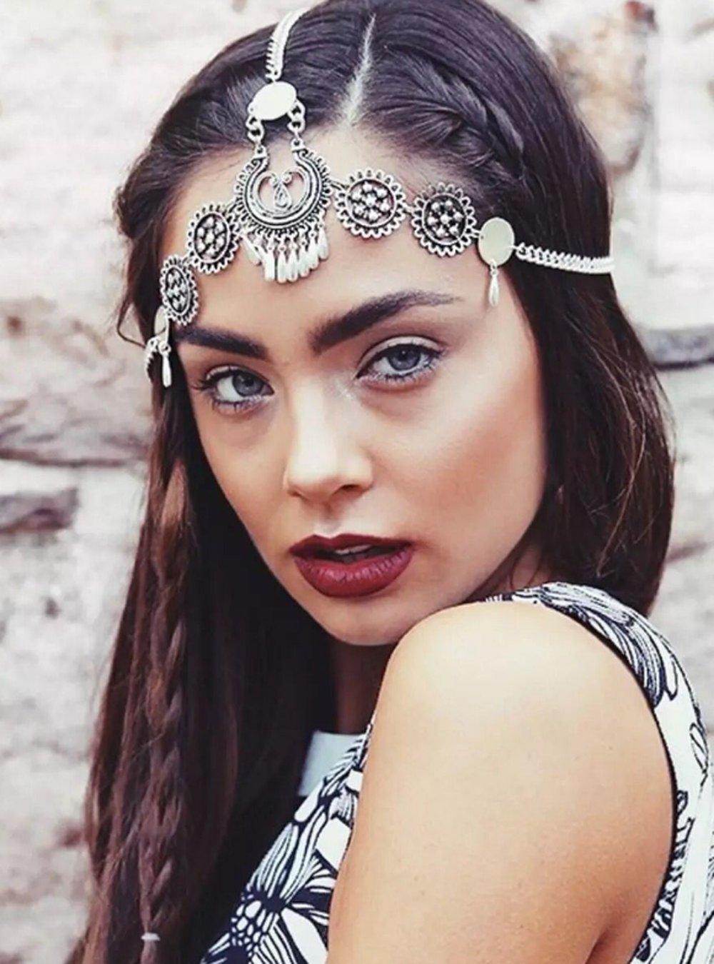 Denifery Bridal Boho Silver Head Chain Bridal Headpiece Bohemian Wedding Hair Accessories