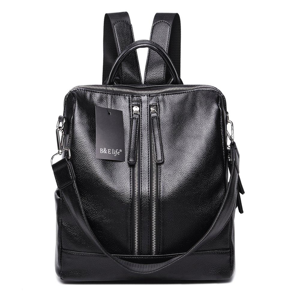 WINK KANGAROO Fashion Shoulder Bag Rucksack PU Leather Women Girls Ladies Backpack Travel bag (black 3)