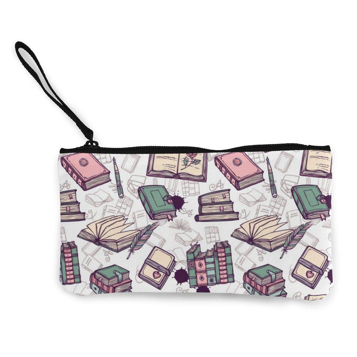 Coin Pouch Books Pattern Canvas Coin Purse Cellphone Card Bag With Handle And Zipper