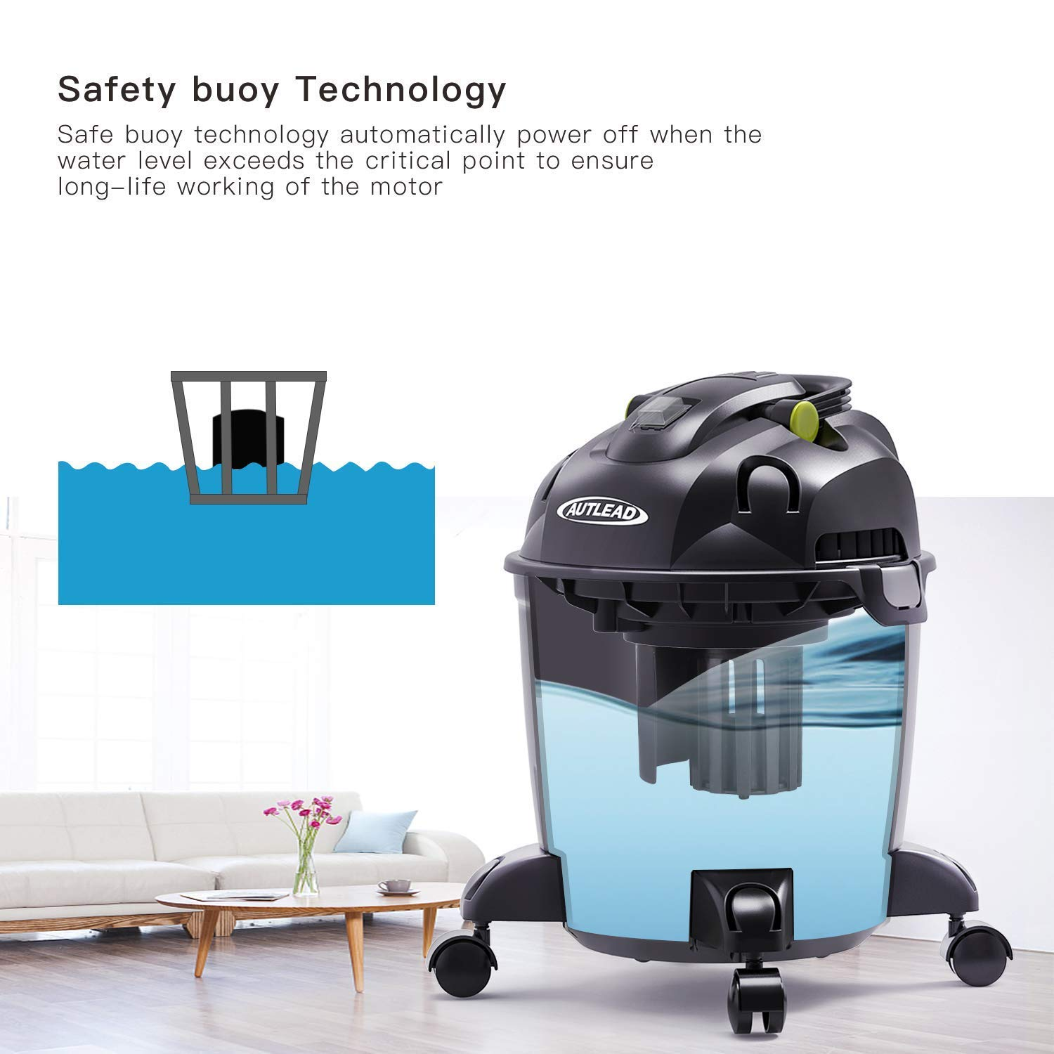 AUTLEAD Wet Dry Vacuum WDS01A 5 Gallon Pure Copper Motor 5.5 HP Wet/Dry/Blow 3 in 1 Shop Vac, Stable Round Bucket Design with Pulley System, HEPA Disposable Bag, 3 Brush Included[US Stock] by AUTLEAD (Image #5)