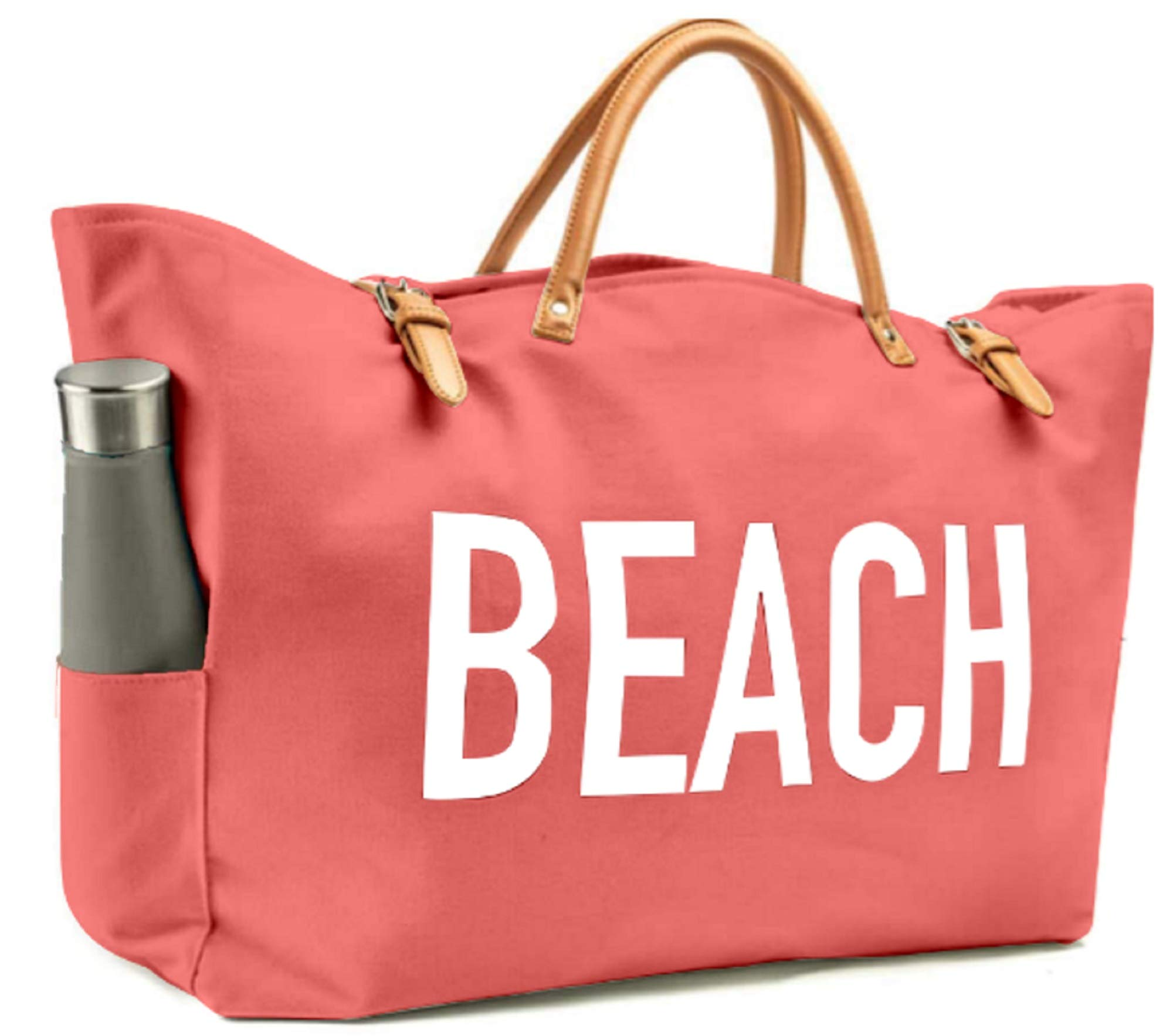 KEHO Large Canvas Beach Bag Travel Tote (Coral), Waterproof Lining, 2 Drink Holders, Pockets, FREE Phone Case
