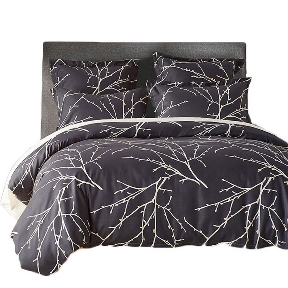 Luxury 120 gsmソフトジャカードマイクロファイバーSanding 3点羽毛布団カバーセット寝具セット(布団カバー1 + 2枕シャム ツイン ベージュ B074TBHM29バンブー ツイン