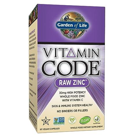 Jardín de vida – Zinc – Vitamina código Raw Zinc todo alimentos suplemento con Vitamina C