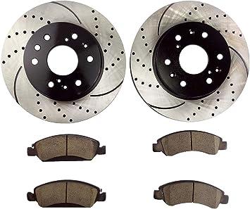 KM015431 Premium Slotted Drilled Rotors + Ceramic Pads Fits: 2007 07 GMC Yukon XL1500 2WD//4WD Models; Non 2008 XL Denali Models Max Brakes Front Supreme Brake Kit