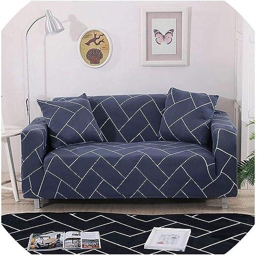 Blanco Azul de la Tela Escocesa Colores Cubierta de sofá de algodón elástico Stretch Fundas sofá Cama Cubierta de la Esquina Sofá Cubiertas para Sala de Estar 1PC, Color 12,3 plazas 190-230cm: