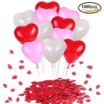 Konsait Globos de Corazon Colores Rojo Rosa Blanco Globos de látex y Pétalos de Rosa en Seda Roja Bodas Fiestas Confeti (1000Uds) para Contrato, ...