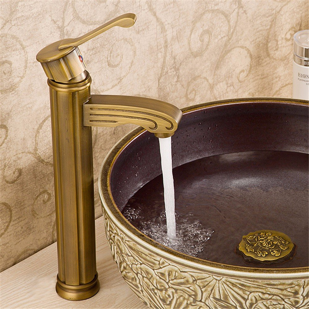 Bijjaladeva Antique Bathroom Sink Vessel Faucet Basin Mixer Tap Basin basin mixer full copper antique antique hot and cold water tap basin sink taps on console with high-intensity