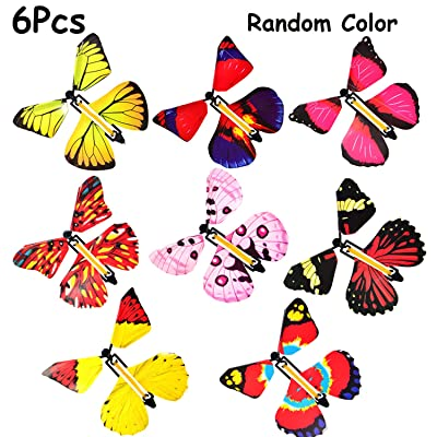 B bangcool Magic Flying Butterflies Rubber Band Powered Funny Wind Up Butterfly Toy Fairy Toy Surprise Gift (6pcs): Clothing
