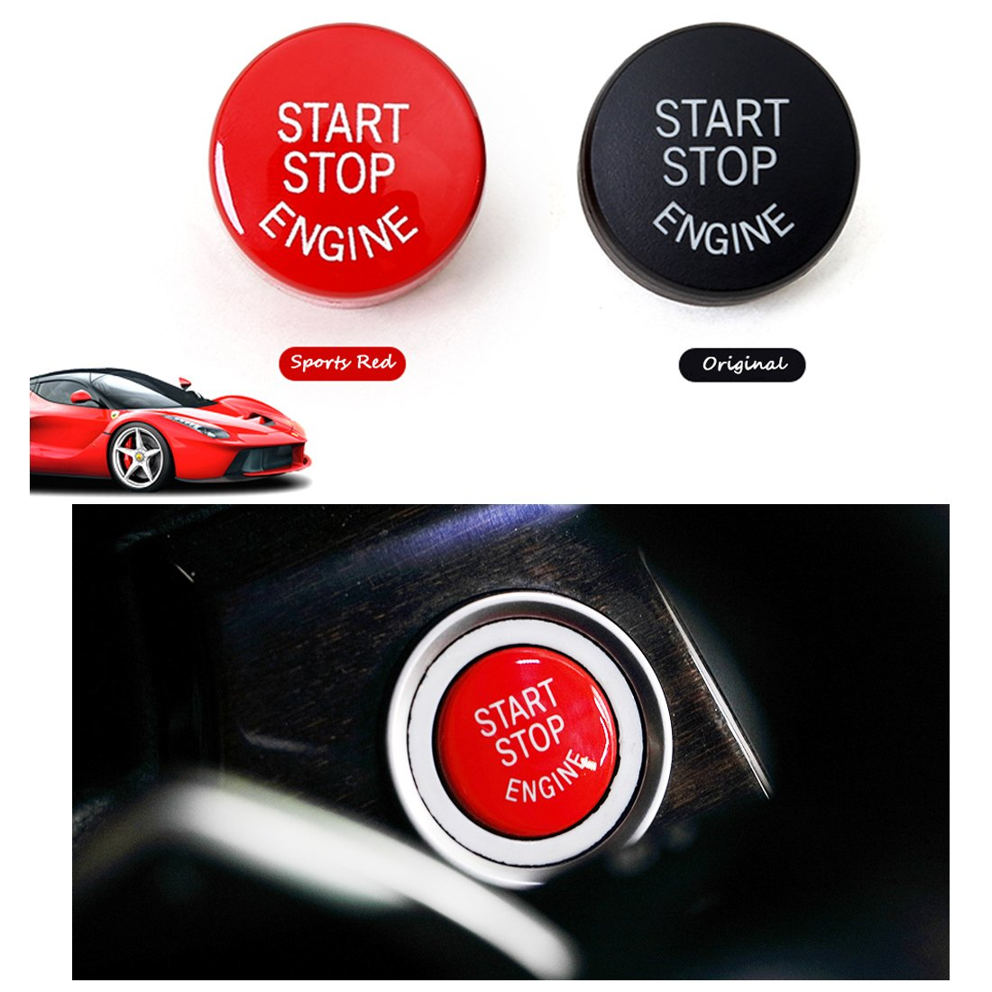 Fits: BMW 1 2 3 4 5 6 7 X1 X3 X4 X5 X6 Series 2010-2016 Sports Red Start Stop Engine Switch Button For BMW,Jaronx Engine Power Ignition Start Stop Button Replacement