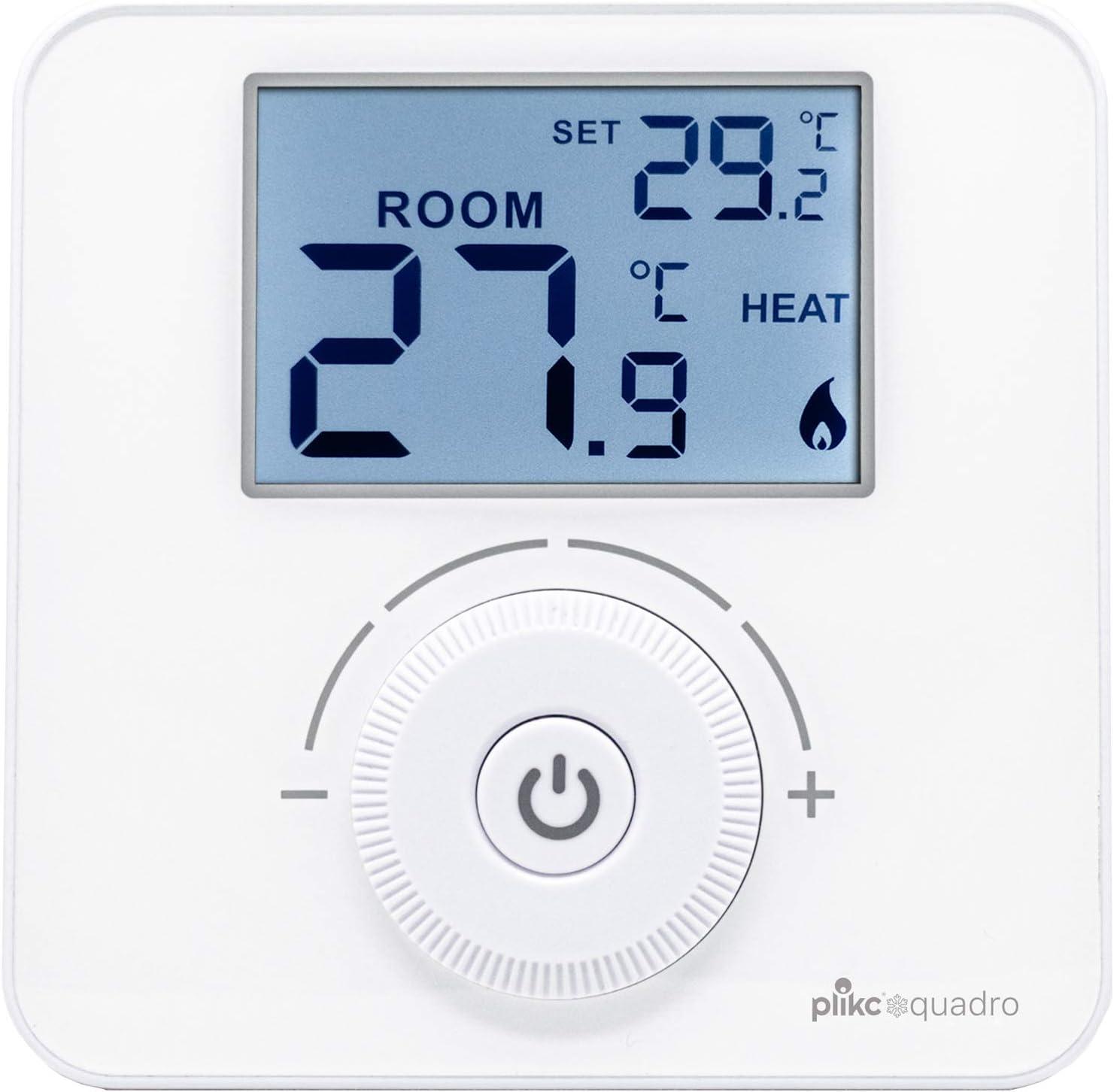 Plikc PLK267690 Thermostat d'ambiance numérique à Piles Blanc