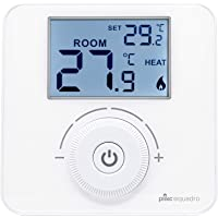 Termostato Ambiente Digital de Pared a Pilas Mod. Quadro - Plikc PLK267690, Blanco