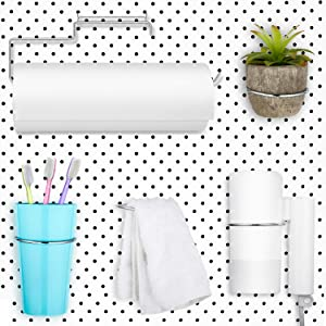 5 Pieces Pegboard Hooks Set Pegboard Paper Towel Holder, 4 Pieces Ring Style Pegboard Hooks Pegboard Organization Accessory Hook for Workshop Garage Kitchen Laundry Room Bathroom (Silver)