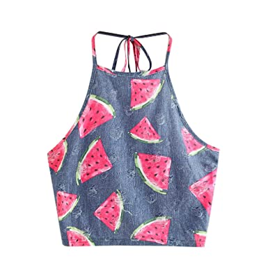 2eaa0a1d9aa36 Women Tank Tops Ulanda Ladies Summer Sleeveless Watermelon Printed Camisole  Shirt Clearance (S
