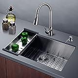 Harrahs 30 Inch Kitchen Sink 30x18.4x10 Inch 11-gauge Lips Easy Drain Stainless Steel Single Bowl with Solid Bottom Grid, Vegetable Basket, Soap Dispenser and Sink Strainer Bar Undermount
