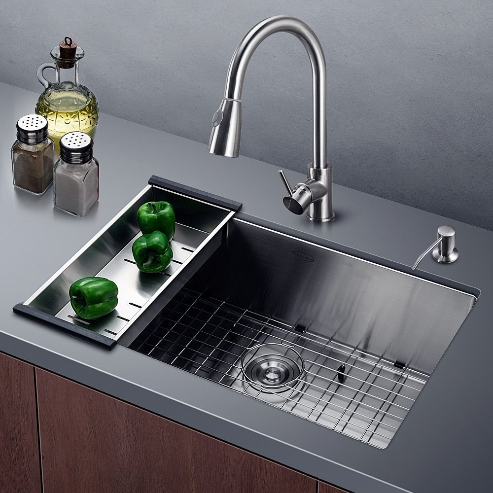 Kitchen Sink11 Gauge Lips Easy Drain Single Bowl With Solid Bottom Grid Vegetable Basket Soap Dispenser And Sink Strainer Bar Undermount 32x19x10 Inch