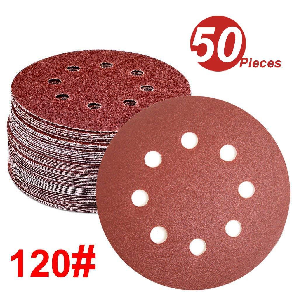WINGONEER 50PCS Sanding Discs Pads, 5-Inch 8-Hole 120-Grit Hook and Loop Aluminium Oxide Sandpaper for Random Orbital Sander