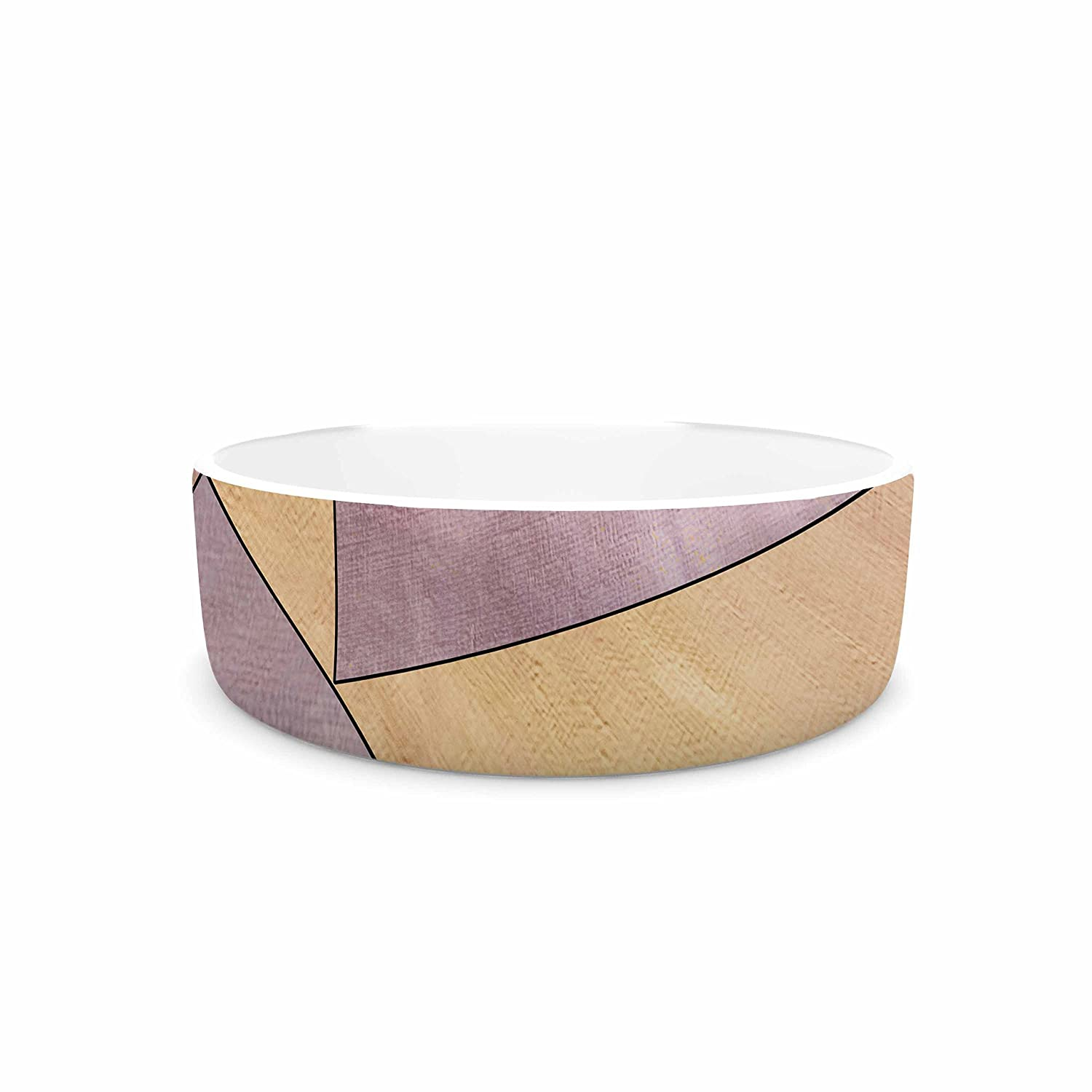 KESS InHouse Sylvia Cook Fracture Purple gold Digital Pet Bowl, 7  Diameter