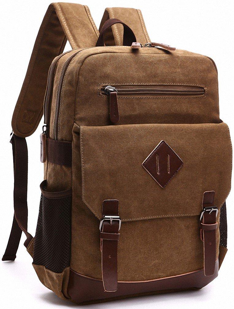Kenox Mens Large Vintage Canvas Backpack School Laptop Bag Hiking Travel Rucksack Brown by Kenox