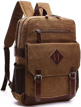 614b79c530d6 Kenox Mens Large Vintage Canvas Backpack School Laptop Bag Hiking Travel  Rucksack Brown