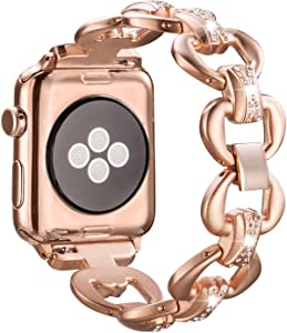 SaNgaiMEi Watch Band 42mm/44mm iwatch Stainless Steel Strap Replacement Band with Stainless Metal Clasp Compatible for Apple Watch Series 5/4/3/ 2/1 / Nike+ Sport and Business (Rose Gold)