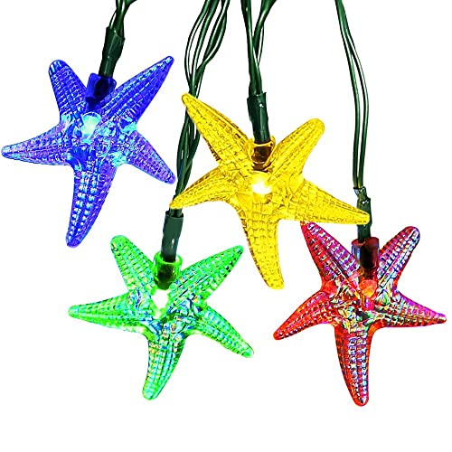 ApexPower Outdoor Christmas Solar String Lights 30LED Starfish Waterproof for Garden, Yard, Home, Landscape, and Holiday Decorations(Multicolored)