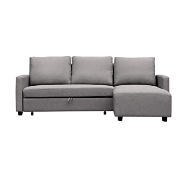 Furniture 247 L-Shaped Sofa, Interchangeable, 136 x 223 x 90cm, Grey