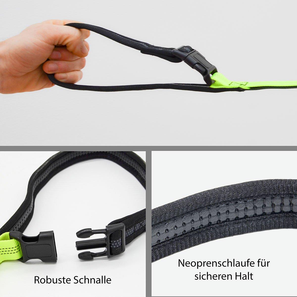 Eyepower Correa para Perro XL para Jogging 162-225 cm Correa elástica para el Vientre Reflectante Negra-Amarilla: Amazon.es: Productos para mascotas