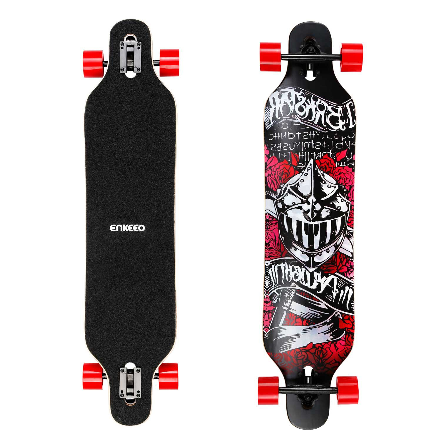 ENKEEO 40 Inch Drop-Through Longboard Skateboard Complete for Carving Downhill Cruising Freestyle Riding (Knight)