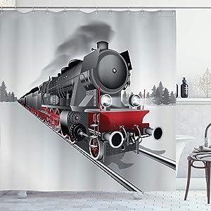 "Ambesonne Steam Engine Shower Curtain, Locomotive Red Black Train on Steel Railway Track Travel Adventure Graphic Print, Cloth Fabric Bathroom Decor Set with Hooks, 70"" Long, Red Grey"