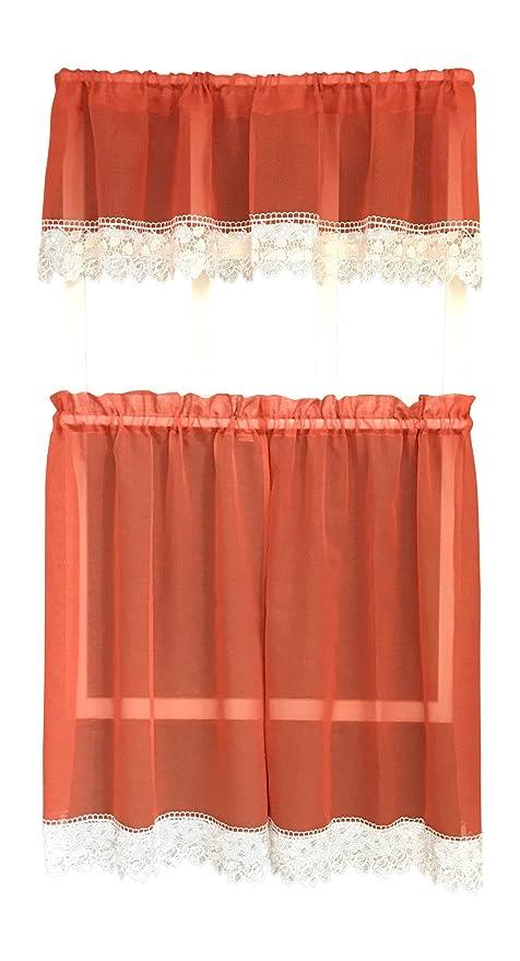 amazon com julia burnt orange rustic kitchen curtains sheer with rh amazon com Orange Kitchen Curtains Sale Country Kitchen Curtains