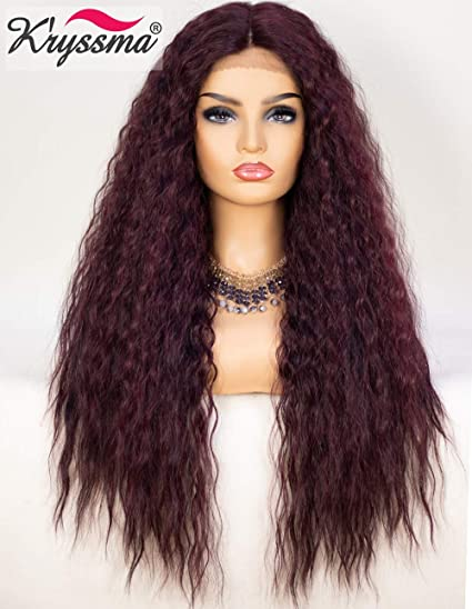 K'ryssma 99j Wavy Curly Lace Front Wig Deep Middle Part Long Synthetic Wigs 130% Density Fluffy Curly Burgundy Wig For Women 22 Inches by K'ryssma