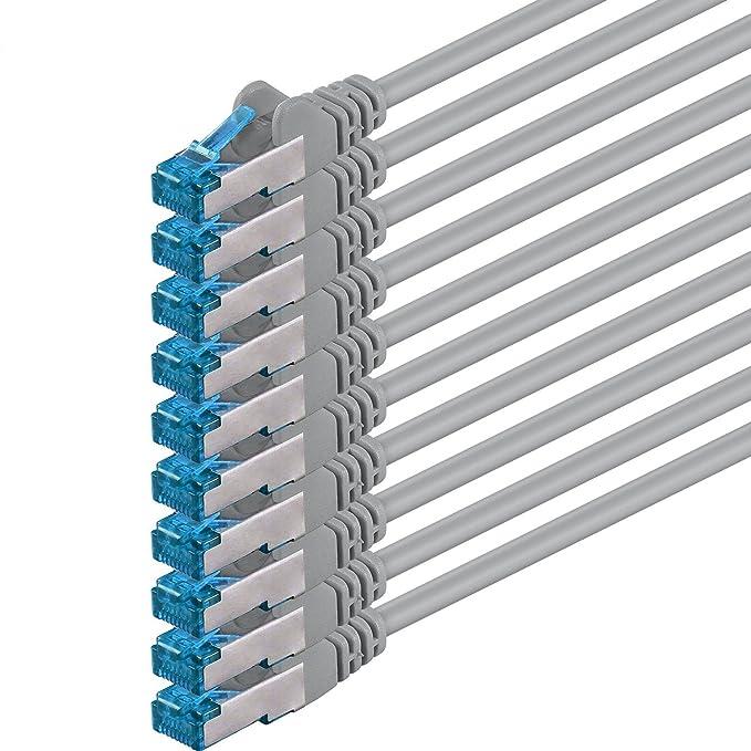 29 opinioni per 1aTTack.de 5m- grigio- 10 pezzi- Rete Cavi Cat6a S-FTP CAT 6a doppia