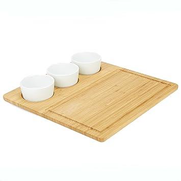 Mind Reader PLATECER3-BRN - Bandeja de servir con 3 platos redondos de cerámica para