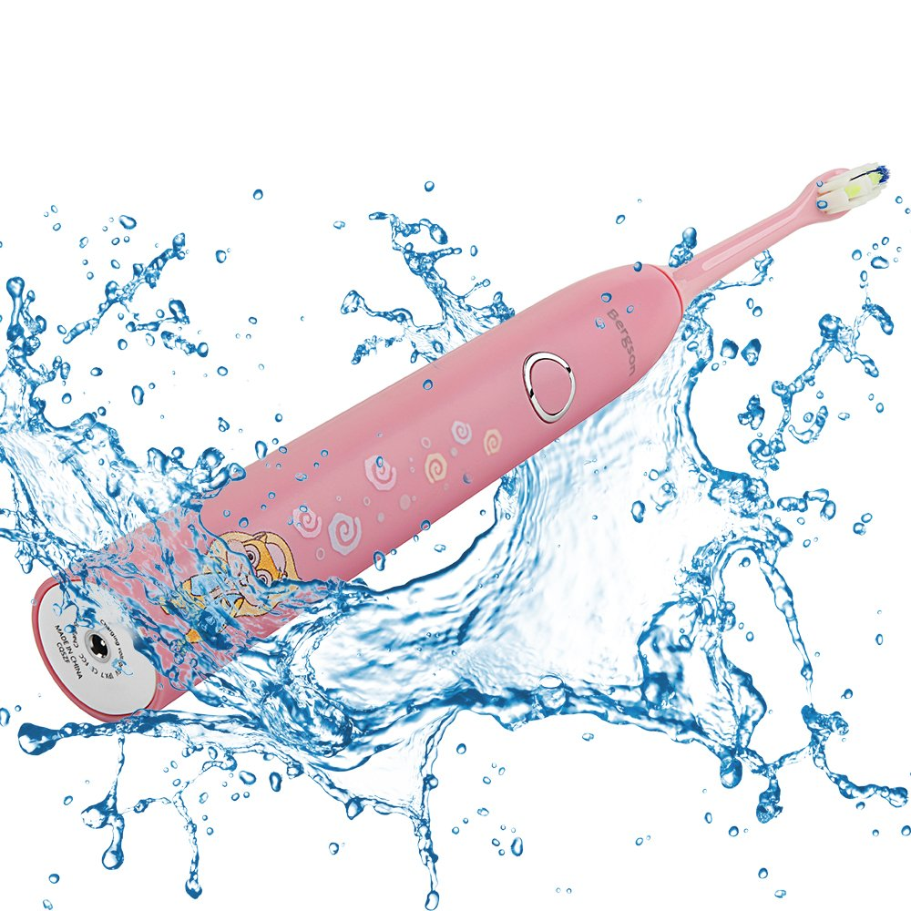Kids Electric Toothbrush Waterproof Rechargeable Sonic Toothbrush with Two Brush Heads100 Days Use (Pink) by Bergson (Image #5)