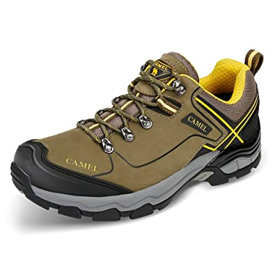 72780037f1b0 Camel Lightweight Hiking Shoes for Men Shockproof Non-Slip Outdoor  Breathable Low Snow Leather Hiking