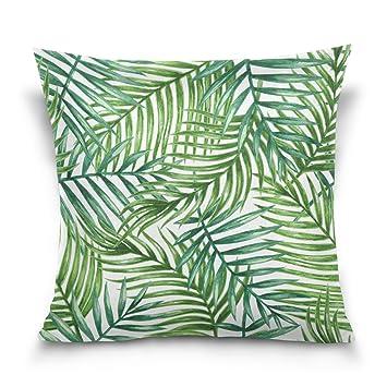 Amazon.com: Xinxin Green Palm Leaves Velvet Throw Pillow ...