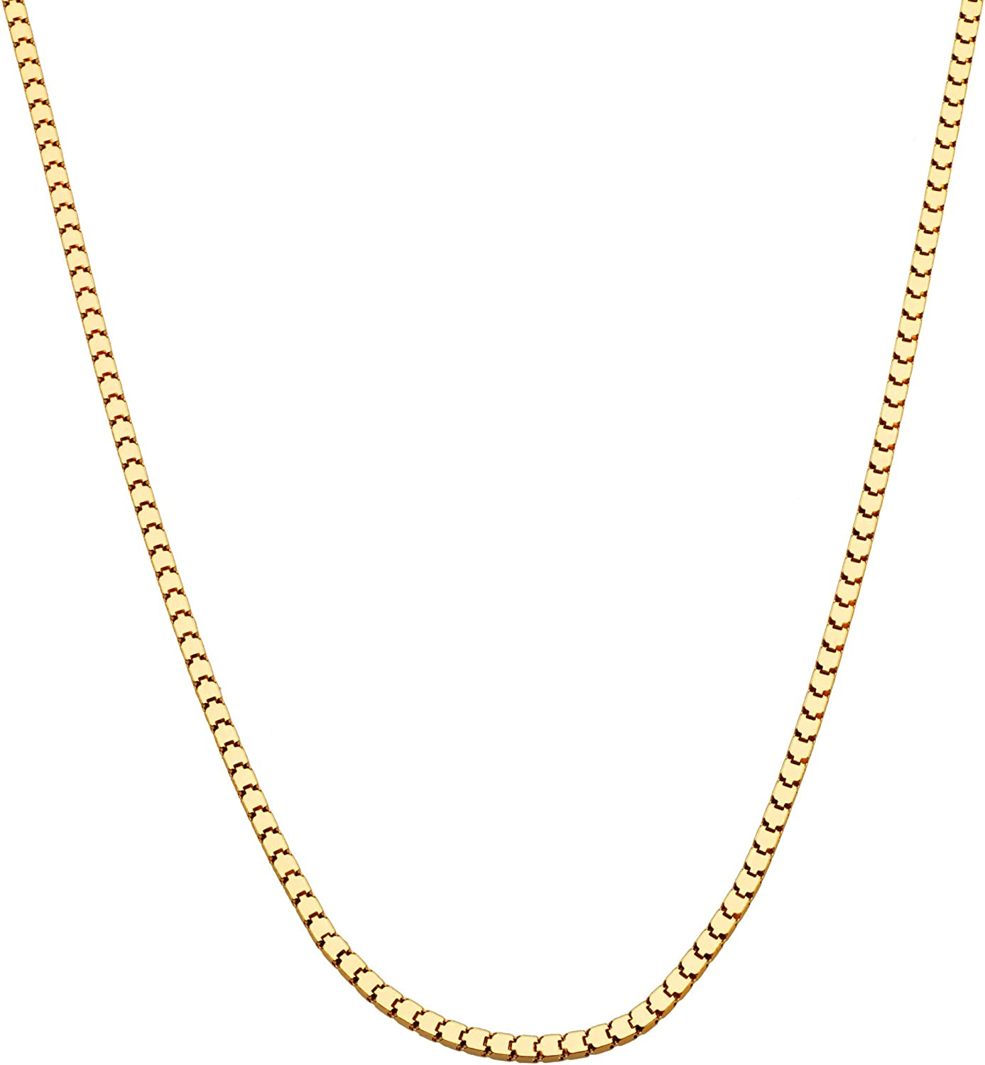 "Miabella 18K Gold Over Sterling Silver Italian Thin 1.6mm or 2.2mm Square Venetian Mirror Box Link Chain Necklace for Men Women, 16"", 18"", 20"", 22"", 24"", 26"", 30"""