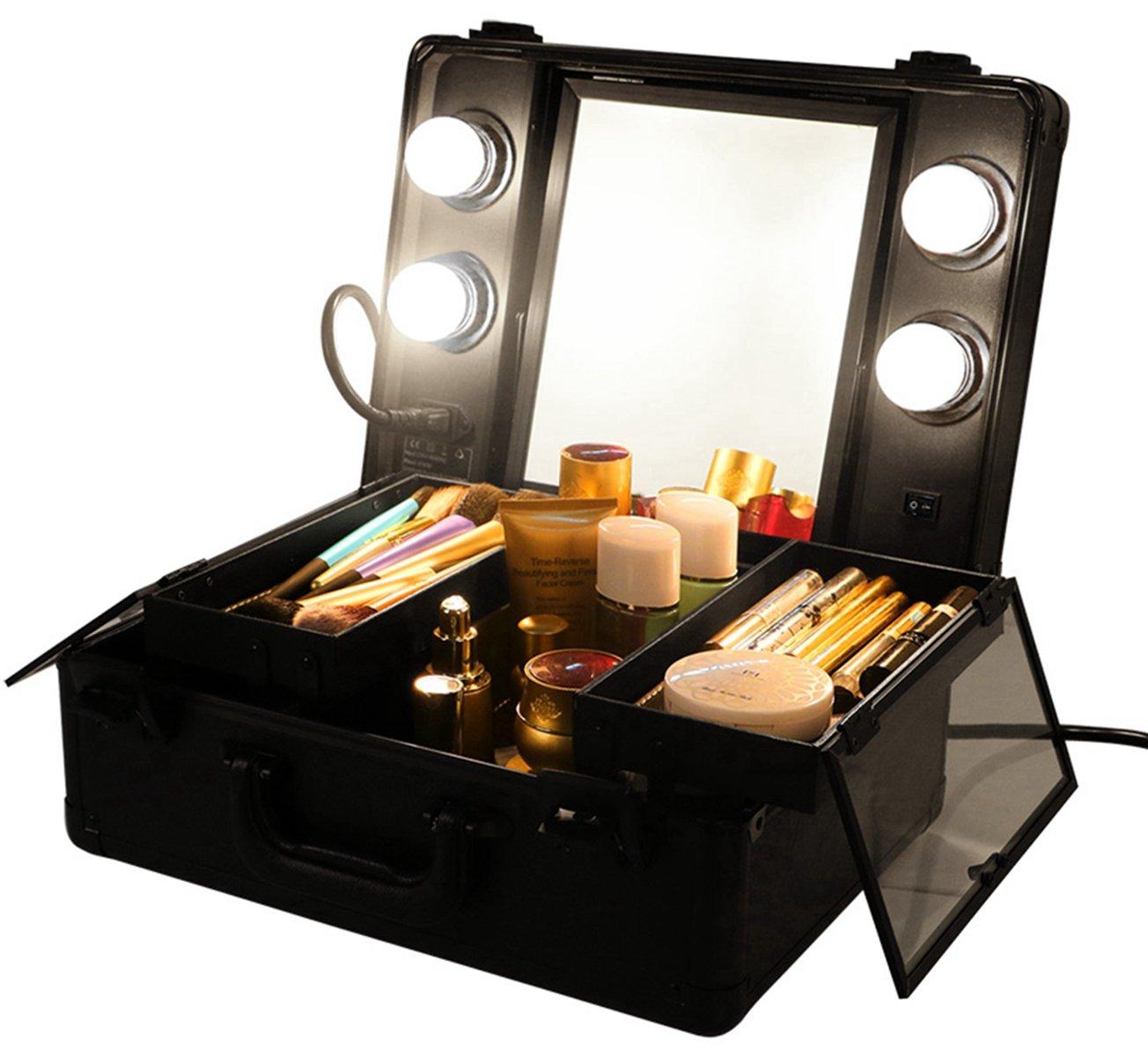 LUVODI Malette Maquillage Professionnel avec Lumiere LED & Miroir Boîte Maquillage Coffret Rigide Bijoux et Cosmétique Beauty Case Voyage 37 x 27 x 16.5 cm Noir