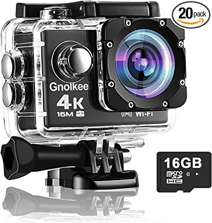 Gnolkee 4K WiFi Action Camera 16GB TF Card,16MP Underwater Video Camera 170 Wide Angle Sports Cam with Remote, 2 Batteries, 24 Accessories Mounting ...